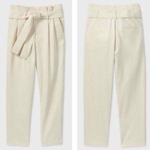 A New Day Cream Tie Waist Paper Bag Pants 12